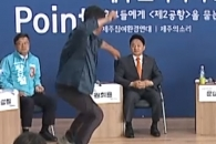 [영상] 원희룡 제주지사 예비후보 피습 순간