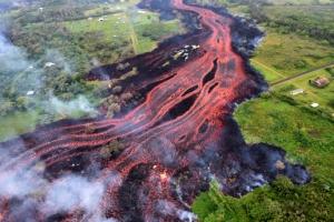 [포토] 강처럼 흐르는 붉은 용암