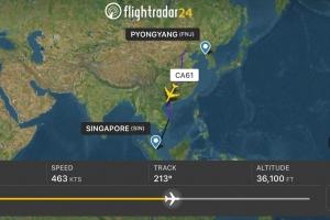 김정은의 싱가포르행, 비행기 2대에 편명까지 바꿔가며 '007 작전'