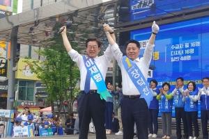 """[6·13지방선거 부천시장] 장덕천 민주당 후보 """"부천 비하발언한 망언의 자유한국당을…"""
