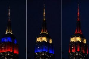 뉴욕 마천루 밝힌 월드컵 참가국 국기 조명