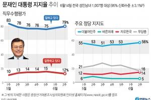 문대통령 국정지지 79%·민주당 지지율 56% 역대최고[한국갤럽]