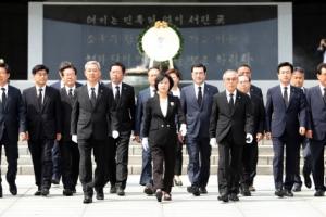 [6·13 민심] 與, DJ·YS 묘소 참배… 31년 만에 '민주대연합' 복원 천명