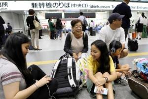 [포토] 일본 오사카 지진에 신칸센도 운행 중단
