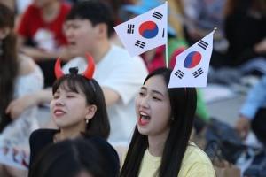 """[포토] """"대~한민국"""" 월드컵 분위기 달아오르는 광화문 광장"""