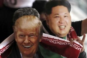 [포토] 월드컵 경기장에 나타난 트럼프와 김정은