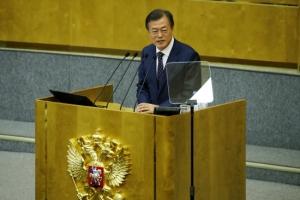 [포토] '최초 러시아 하원 연설' 문재인 대통령 '한·러 우정으로 유라시아로'