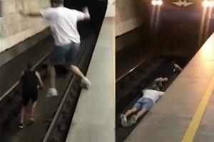 담력테스트 위해 철로 위 뛰어든 겁없는 십대들