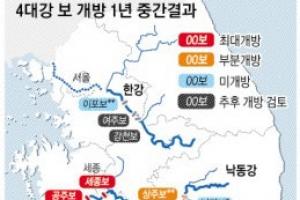 """""""녹조 41% 감소"""" 4대강 보 개방 1년…모래톱도 회복"""