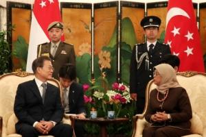 """문대통령, 싱가포르 대통령 면담…""""4차산업혁명 협력 확대"""""""