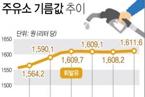 휘발유·경유·등유 가격 일제히 '연중 최고치'…3주째 상승