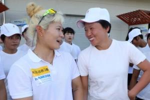 [포토] '즐거운 만남' 카누 용선·조정 남북 단일팀