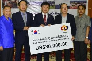 아시아한인총연합회, 라오스 수해 성금 전달