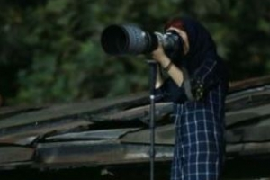 경기장 출입 막자 지붕에 올라간 이란 여자 사진기자