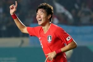 [포토] 대한민국 vs 바레인…황의조, 전반전 해트트릭 기록 '함박웃음'