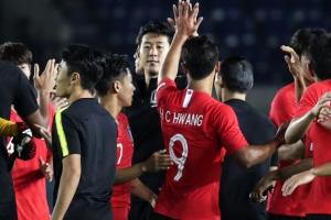[포토] 대한민국 vs 바레인, '6-0 대승' 기뻐하는 선수들