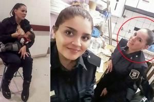 영양실조 아기에게 모유 수유한 여성 경찰관