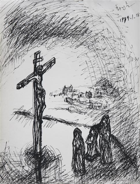 최인호 작가가 1994년 1월 18일 이한택 주교의 지도하에 성 이냐시오 영성 수련 프로그램에 참여했을 때 한 스케치.