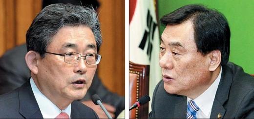 언제까지 입씨름만 할건가  2월 임시국회 마지막 날인 5일에도 정부조직법 개정안에 대한 여야 합의가 이뤄지지 않은 가운데 이한구(왼쪽) 새누리당 원내대표와 박기춘 민주통합당 원내대표가 각각 국회에서 열린 원내대책회의에서 상대방의 입장을 비판하고 있다. 이호정 기자 hojeong@seoul.co.kr