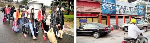 탈북한 13명… 문닫은 해외식당  해외 북한 식당에 근무하는 종업원 13명이 지난 7일 인천공항을 통해 한국에 입국한 후 모처에 도착해 숙소로 걸어 들어가고 있다(왼쪽). 오른쪽 사진은 최근 영업 부진으로 폐업한 캄보디아 내 북한 식당.  통일부 제공·캄보디아한인회 제공