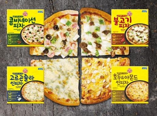 오뚜기는 '콤비네이션 피자', '불고기 피자', '고르곤졸라 씬피자', '호두&아몬드 씬피자' 등 4종류의 냉동 피자를 출시했다. 오뚜기 제공