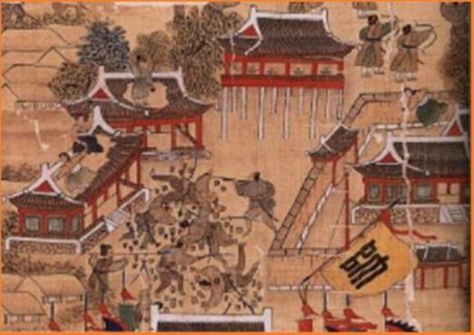 임진왜란이 발발한 1592년 동래성에서 여성들이 지붕 위에 올라 왜군들에게 기왓장을 던지고 있는 모습을 담은 '동래부순절도'(1760년. 육군박물관 소장). 조선시대 여성들은 가정경제를 책임지며 각종 경제활동을 담당했고 임진왜란과 병자호란기엔 전쟁에서 활약하기도 했다. 사람의무늬 제공
