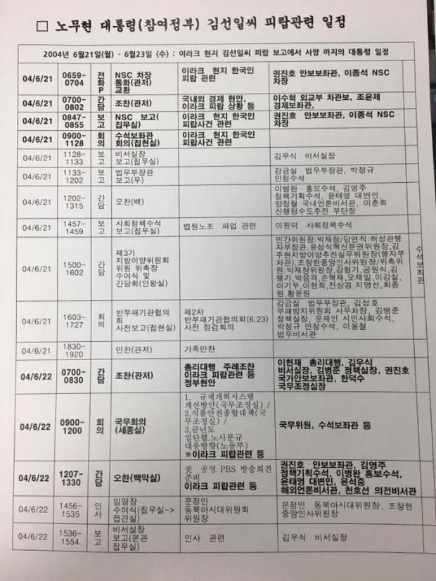 김선일씨 피랍 사건 당시 노무현 대통령 일정표(1/2) 이해찬 의원실