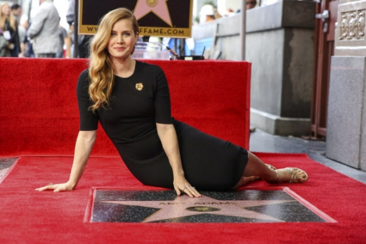 영화배우 에이미 아담스가 11일(현지시간) 미국 캘리포니아주 로스 앤젤레스 헐리우드 명예의 거리에 입성후 포즈를 취하고 있다. AP 연합뉴스