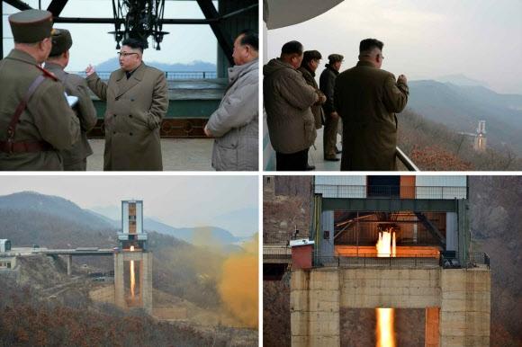 북한 김정은, 신형 고출력 로켓엔진 지상분출시험 참관