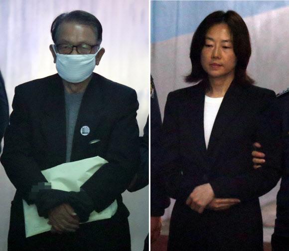첫 공판 출석하는 김기춘, 조윤선