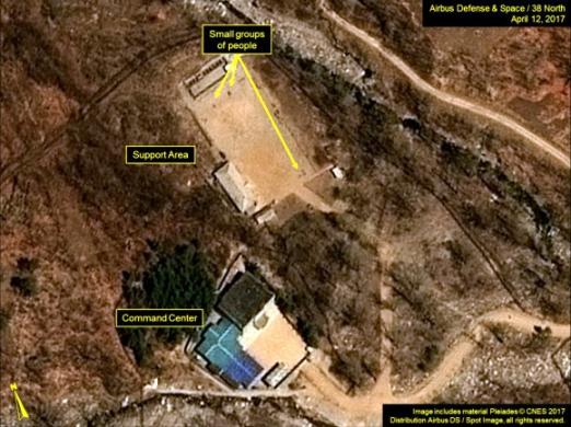 북한이 핵실험을 하는 함북 풍계리 시험장 일대. 잦은 핵실험으로 지반이 약해져 자연지진도 점점 잦아지고 있다. 38노스 제공=연합뉴스