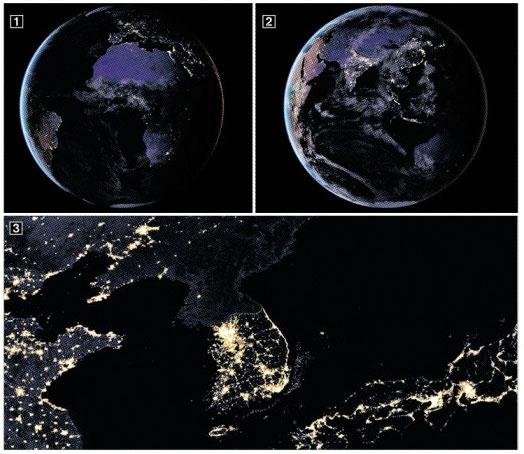 ①·② 우주에서 바라본 해 진 뒤의 지구의 모습. ③ 밤의 한반도. 서울과 부산 등 대도시는 물론 해안선의 불빛과 휴전선 경계까지 선명하게 보인다. 반면 북한 지역은 평양을 제외하고는 모두 캄캄하다. NASA's Goddard Space Flight Center