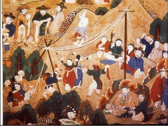 파주 보광사 감로탱(1898)의 연희 장면. 청룡사 감로탱에는 없는 남사당패의 줄타기 공연 모습이 담겨 있다.