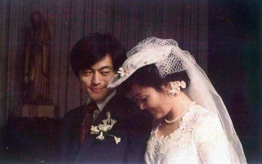 문재인 후보와 부인 김정숙씨의 결혼식 모습.  연합뉴스DB