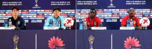 U-20 D-1, 승리의 미소는 누구에게 U-20 월드컵 개막을 하루 앞둔 19일 전주 월드컵 경기장 기자회견장에서 열린 공식 기자회견에서 한국팀 주장 이상민(왼쪽사진 왼쪽부터), 신태용 감독과 기니 대표팀 알세니 수마(오른쪽 사진 왼쪽부터) 선수와 만주 디알로 감독이 각각 취재진 질문에 답하고 있다.      아르헨티나, 잉글랜드와 함께 A조에 속한 한국과 기니는 20일 오후 8시 전주월드컵경기장에서 1차전을 치른다. 연합뉴스
