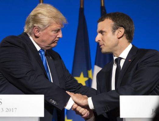 도널드 트럼프 미국 대통령(왼쪽)과 에마뉘엘 마크롱 프랑스 대통령 프랑스 파리 엘리제 궁에서 13일(현지시간) 미·불 정상회담이 개최됐다. 사진=AP 연합뉴스