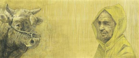 김용철 화가는 연필 드로잉 위에 회갈색 동양화 물감으로 엷게 채색해 과장이나 위트가 끼어들 틈 없는 황선미 작가의 사실적인 서사와 우리 전통 소인 칡소의 느낌, 소의 내면을 세심하게 재현해 냈다. 사계절 제공