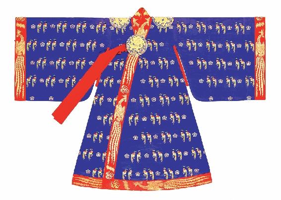적의(翟衣)는 조선왕실의 예복으로 왕비는 대홍색, 왕세자빈은 흑색이었으나 대한제국기에는 복색이 청색으로 바뀌었다. 사진은 대한제국기 영친왕비의 청색 적의. 황태자비는 9등, 황후는 12등의 꿩 무늬가 수놓아진 적의를 입었다. 국립고궁박물관 제공