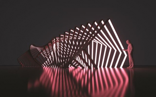 9월 개관하는 르 메르디앙 서울의 입구에 설치된 양민하의 미디어아트 작품 '집+적'(集+積) 개념도. M컨템포러리 제공
