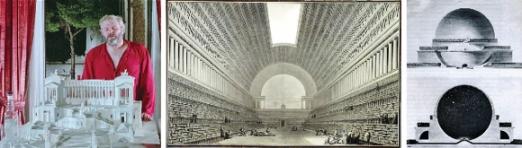 신고전주의 프랑스 건축가 에티엔 루이 불레는 실현 불가능한 상상 속 건물을 꿈꾼 것으로 유명하다. 영화 '건축가의 배'는 불레를 숭배하는 미국 건축가 크랙라이트(왼쪽)가 불레의 전시를 위해 로마를 찾으며 시작된다. 가운데와 오른쪽 그림은 불레가 남긴 '왕립도서관프로젝트'와 '뉴턴 기념당안' 도면. 자신의 이상을 현실에 구현하지 못했지만 후대 건축가들의 상상력에 많은 자극을 줬다.
