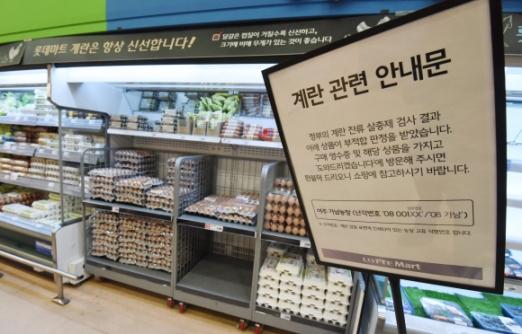 도매업체엔 달걀 쌓이고…마트는 '텅텅'  14일 서울의 한 대형마트에선 여전히 달걀 환불 안내문구가 걸려 있다. 한 달 전 불거진 '살충제 달걀' 파동으로 달걀 수요가 급감하면서 대형마트에선 달걀 한 판(30구) 가격이 4000원대까지 떨어졌다. 최해국 선임기자 seaworld@seoul.co.kr