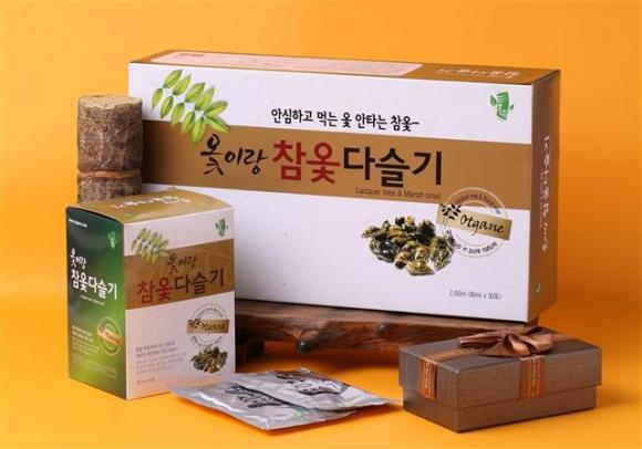 옻 전문기업 옻가네가 추석선물로 내놓은 '옻이랑 참옻 다슬기'. 옻가네 제공