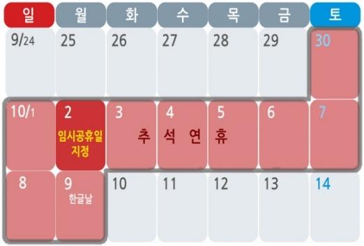 최장 10일 황금연휴의 완성. 연합뉴스