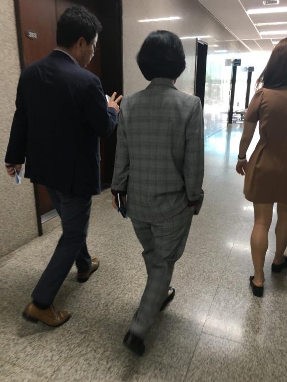 추미애 대표가 즐겨 입는 회색 체크 정장 사진=추미애 대표 블로그 캡처