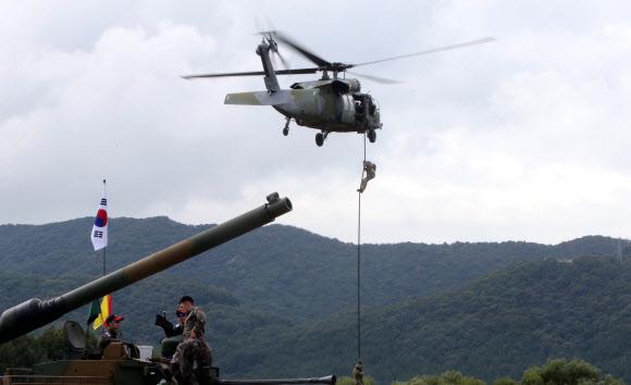 헬기 레펠 시범