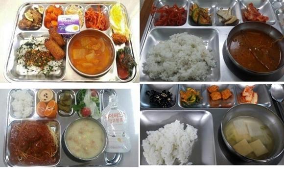 의경 밥상도 서울 vs 지방 큰 차이 똑같은 의무경찰이 먹는 식단인데 서울과 지방의 차이가 크다. 왼쪽 사진은 서울의 한 기동대 식단이라며 지난해 인터넷에 공개된 식단. 육류 튀김과 어묵 소시지(위), 스파게티와 과일(아래) 등과 요구르트, 과일주스 등 부식이 식판 자리가 모자랄 정도로 담겨 있다. 오른쪽 사진은 지난달 25일 강원도의 한 경찰서 점심(위)과 26일 아침 식사. 육개장과 어묵국 외에 오이무침, 김치 등 밑반찬뿐이다. 출처=네이버블로그 캡처·전역 의경 제공