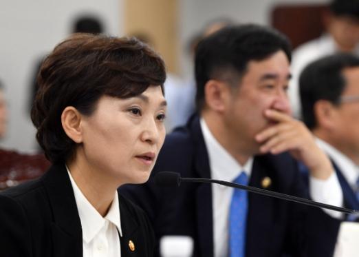 김현미(왼쪽) 국토교통부 장관이 12일 정부세종청사에서 열린 국토부 국정감사에서 의원들의 질의에 답하고 있다. 세종 정연호 기자 tpgdo@seoul.co.kr