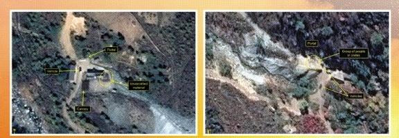 북한의 핵시설 미국의 북한 전문 매체인 38노스가 북한 함경북도 길주군 풍계리 핵실험장을 촬영한 상업용 위성사진. 에어버스 디펜스 앤드 스페이스·38노스 공동 제공 연합뉴스