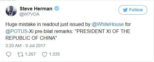 시진핑 직함 오기. 트위터 캡쳐
