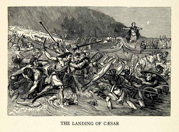카이사르가 브리타니아(영국)을 정복하기 위해 해안가에 상륙하는 장면을 묘사한 목판화 위키미디어 제공